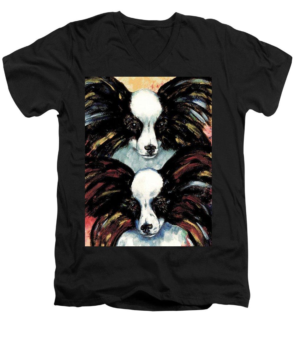 Papillon Men's V-Neck T-Shirt featuring the painting Papillon De Mardi Gras by Kathleen Sepulveda