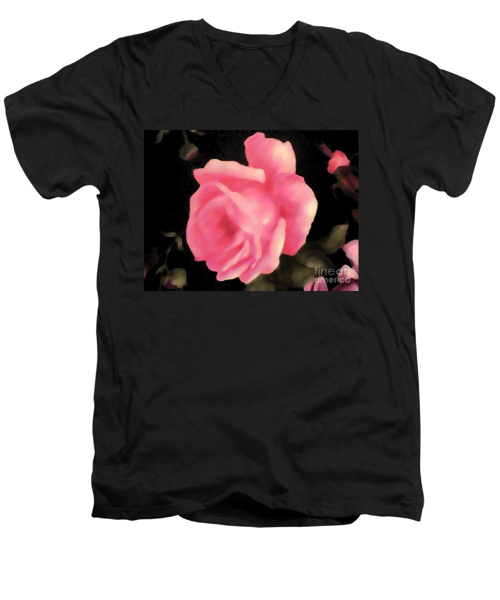 Pink fabric rose thick paint adult v neck for sale by for Thick v neck t shirts