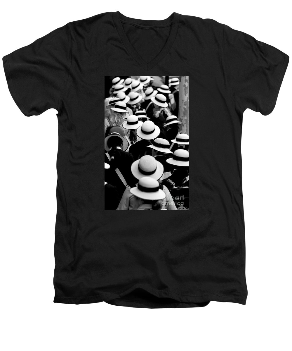 Hats Schoolgirls Men's V-Neck T-Shirt featuring the photograph Sea Of Hats by Avalon Fine Art Photography