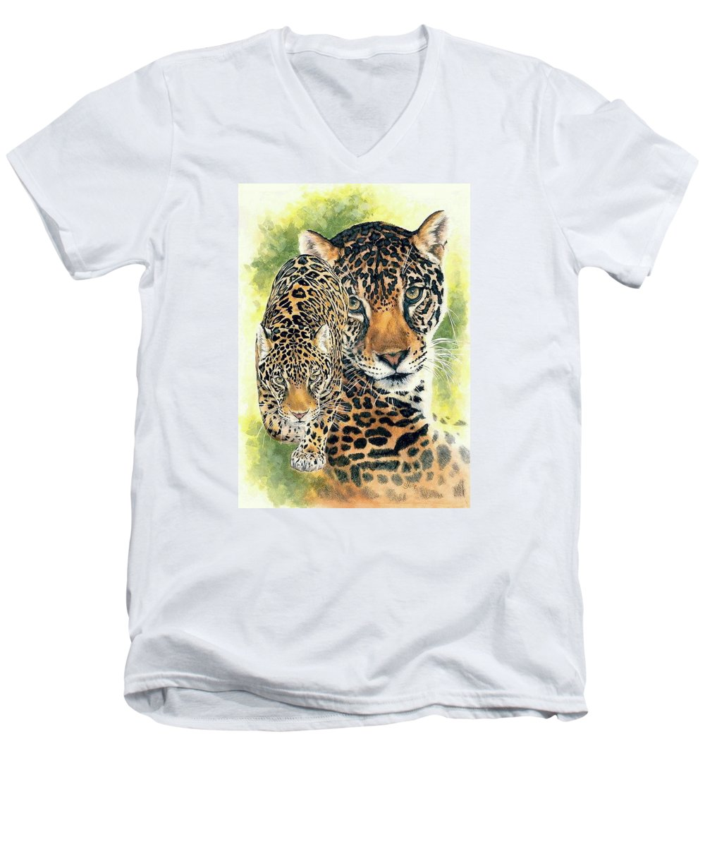 Jaguar Men's V-Neck T-Shirt featuring the painting Compelling by Barbara Keith