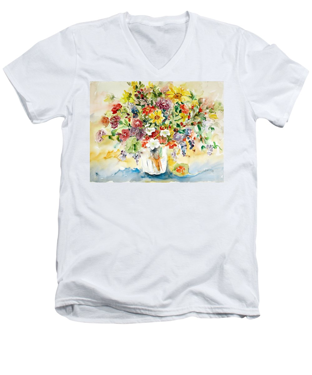 Watercolor Men's V-Neck T-Shirt featuring the painting Arrangement IIi by Ingrid Dohm