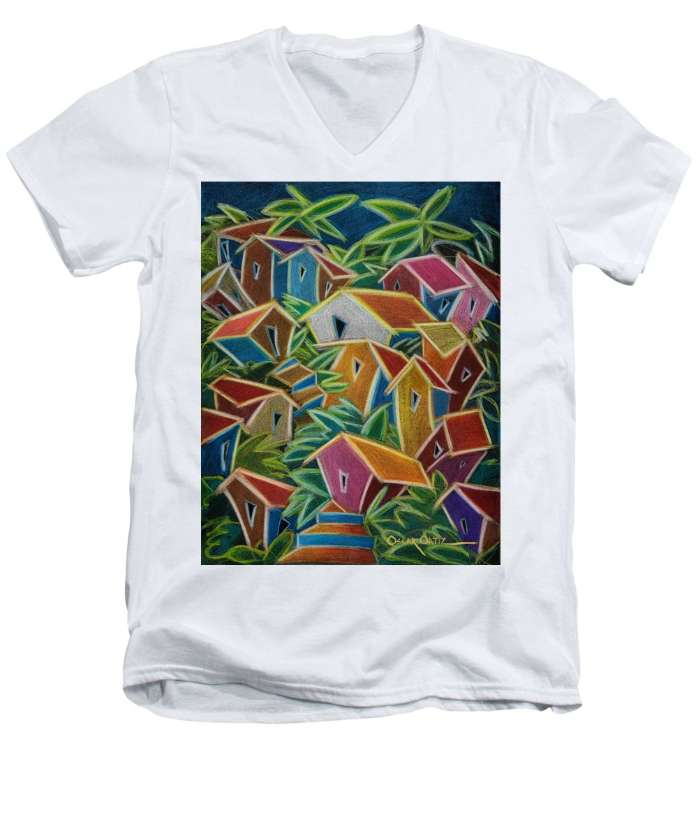 Landscape Men's V-Neck T-Shirt featuring the painting Barrio Lindo by Oscar Ortiz