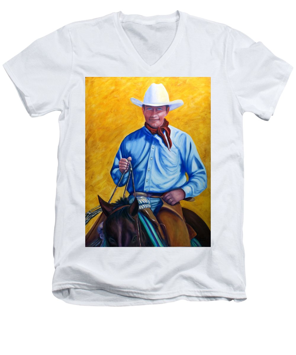 Cowboy Men's V-Neck T-Shirt featuring the painting Happy Trails by Shannon Grissom