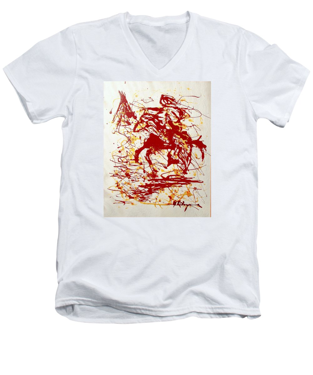 Indian Men's V-Neck T-Shirt featuring the painting History In Blood by J R Seymour