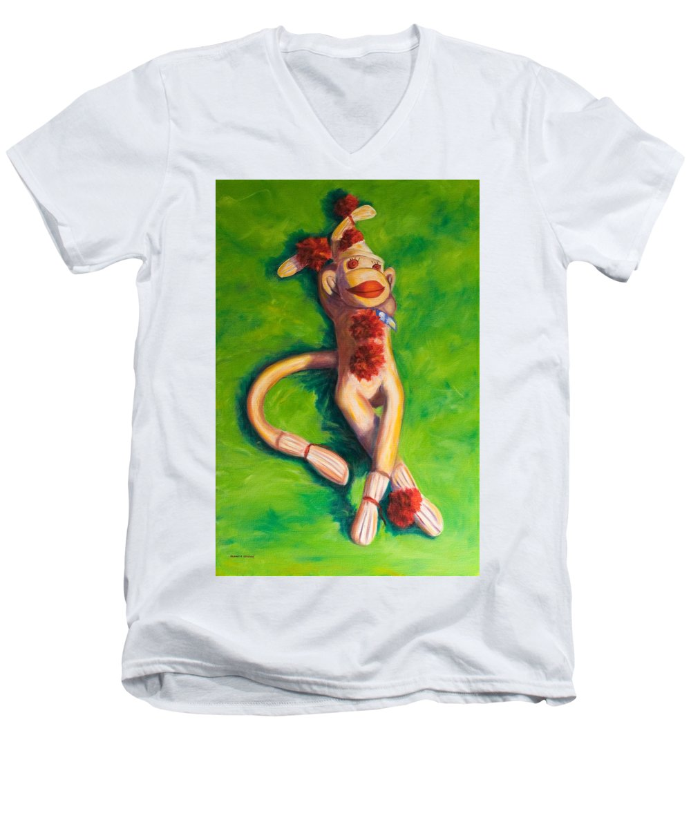 Sock Monkey Men's V-Neck T-Shirt featuring the painting Life Is Good by Shannon Grissom