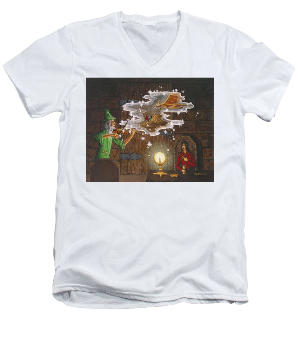 Fantasy Men's V-Neck T-Shirt featuring the painting Magic Violin by Roz Eve