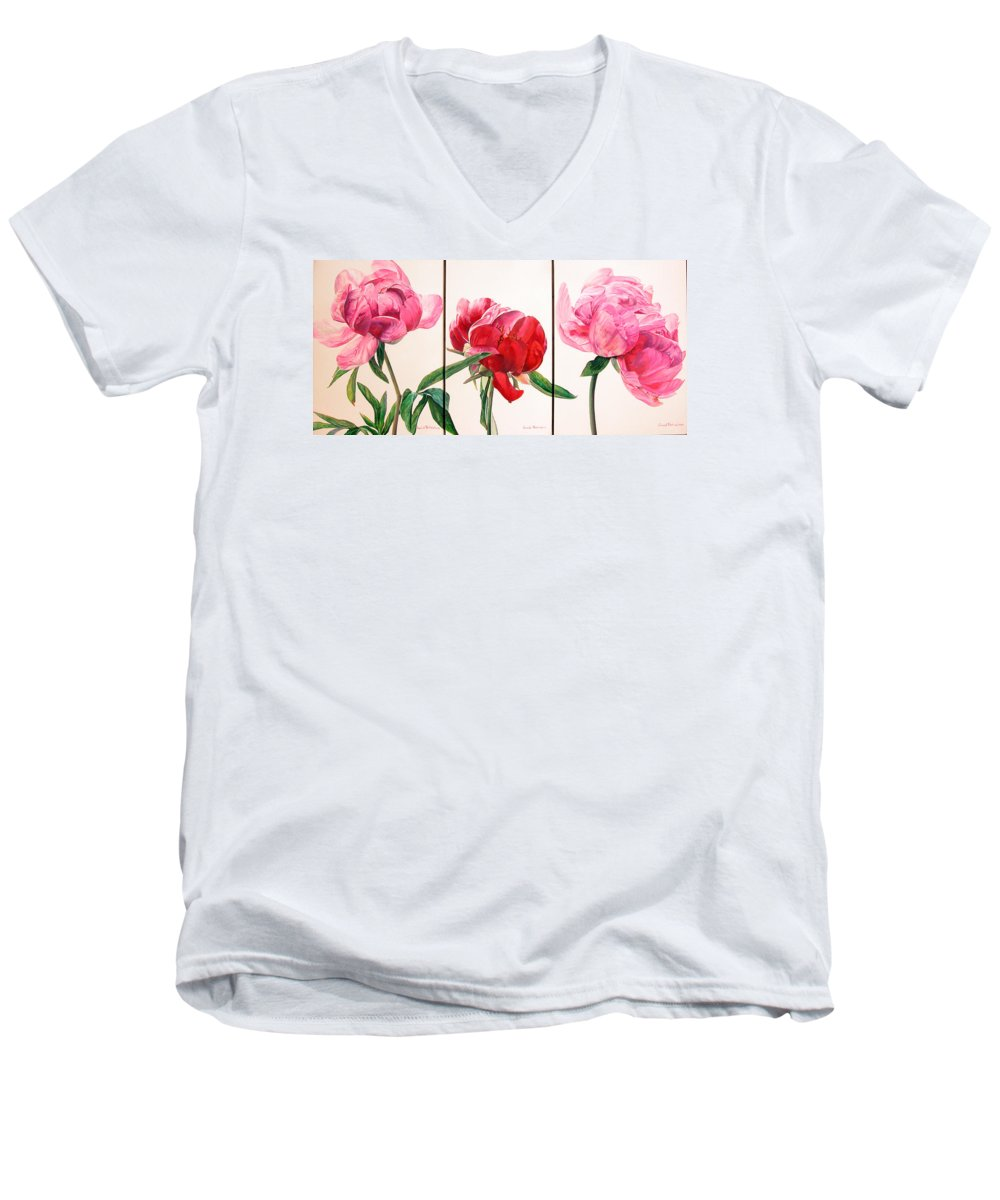 Floral Painting Men's V-Neck T-Shirt featuring the painting Pivoines by Muriel Dolemieux