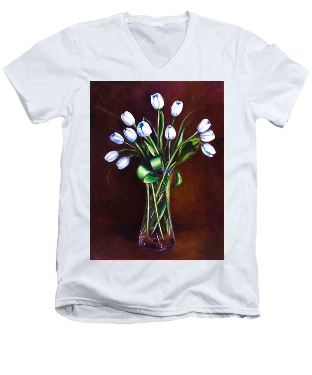 Shannon Grissom Men's V-Neck T-Shirt featuring the painting Simply Tulips by Shannon Grissom
