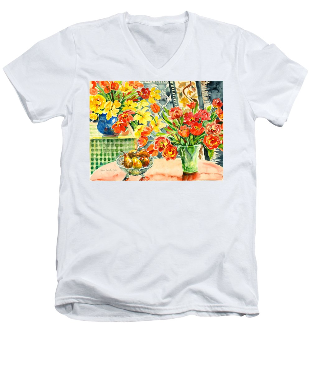 Watercolor Men's V-Neck T-Shirt featuring the painting Studio Still Life by Ingrid Dohm