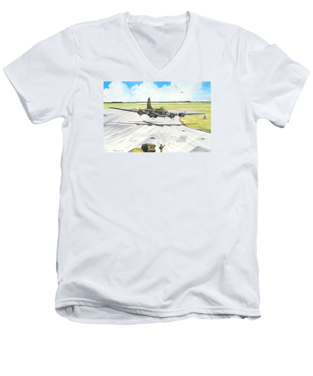 Military Men's V-Neck T-Shirt featuring the painting The Memphis Belle by Marc Stewart