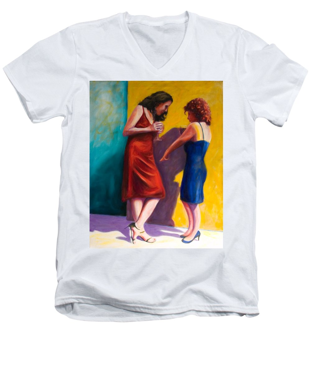 Figurative Men's V-Neck T-Shirt featuring the painting There by Shannon Grissom