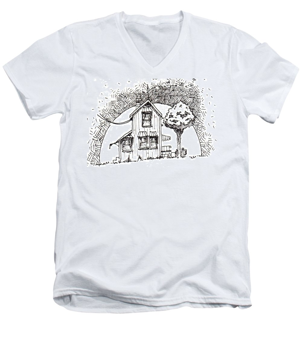 House Men's V-Neck T-Shirt featuring the drawing Untitled by Tobey Anderson