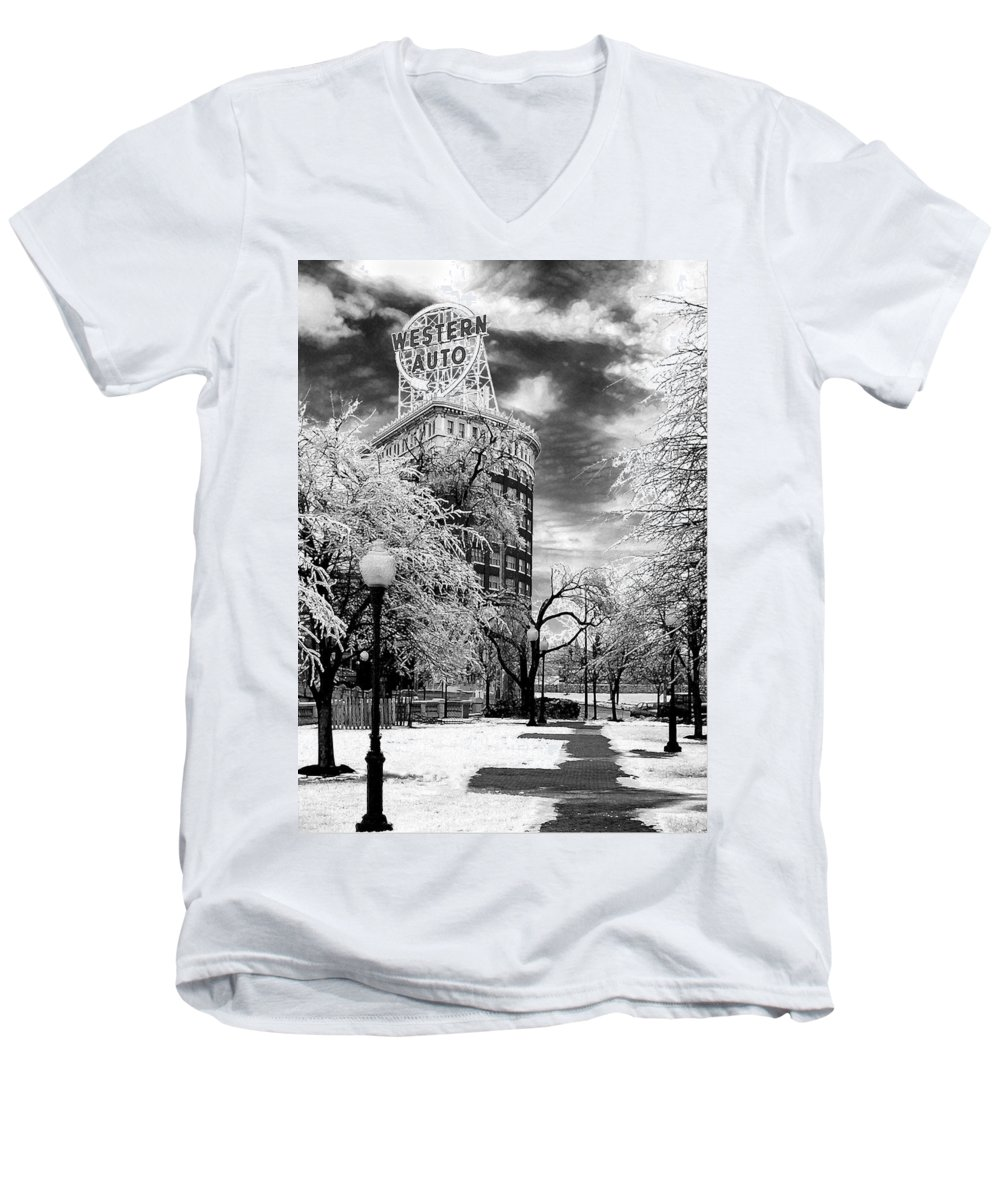 Western Auto Kansas City Men's V-Neck T-Shirt featuring the photograph Western Auto In Winter by Steve Karol