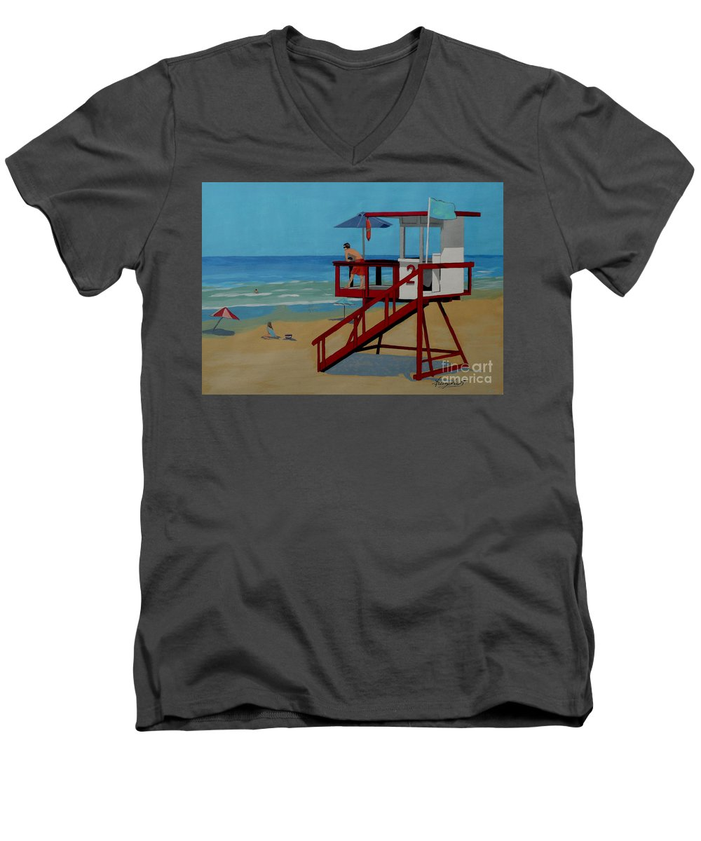 Lifeguard Men's V-Neck T-Shirt featuring the painting Distracted Lifeguard by Anthony Dunphy