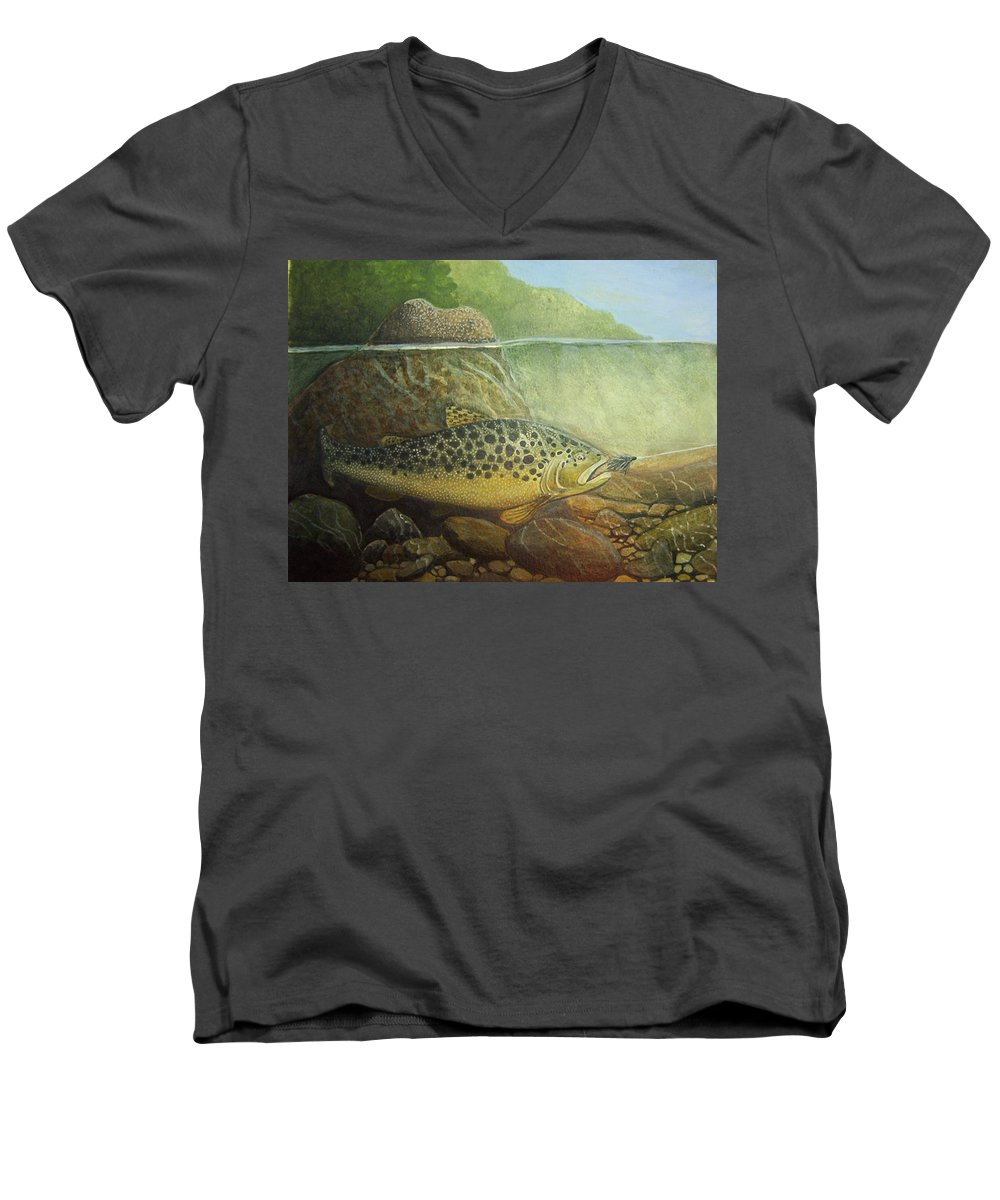 Rick Huotari Men's V-Neck T-Shirt featuring the painting Lurking by Rick Huotari