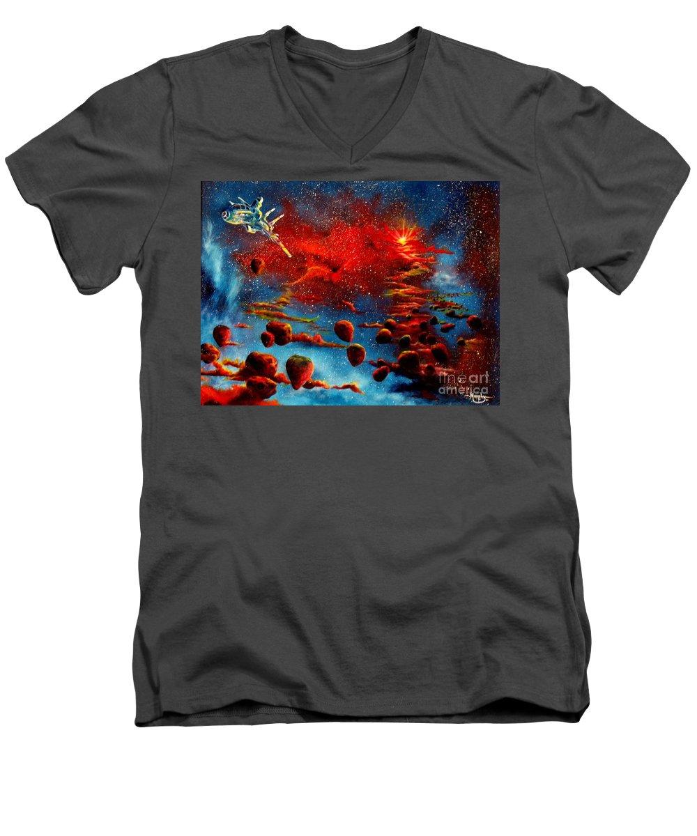 Nova Men's V-Neck T-Shirt featuring the painting Starberry Nova Alien Excape by Murphy Elliott