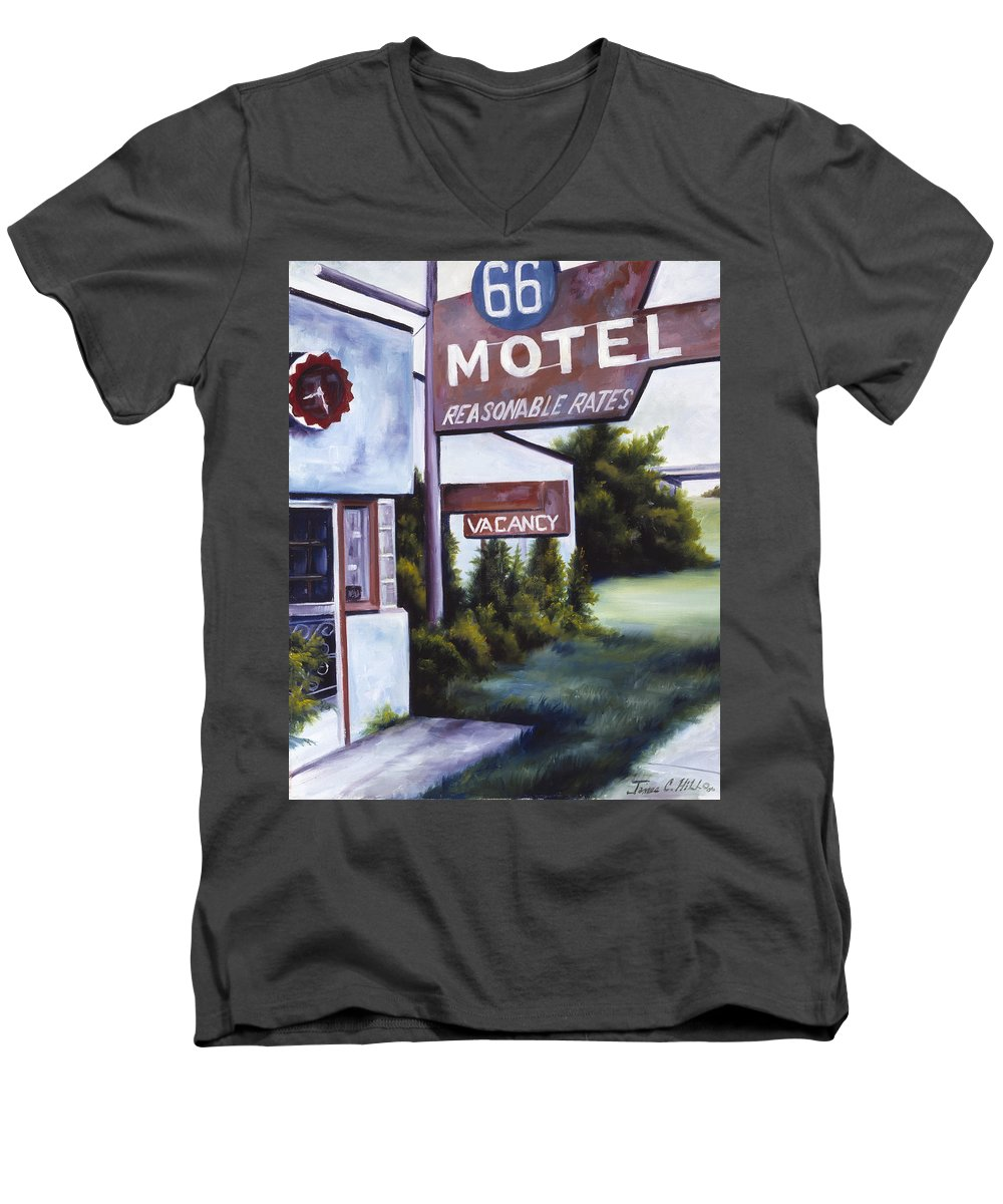 Motel; Route 66; Desert; Abandoned; Delapidated; Lost; Highway; Route 66; Road; Vacancy; Run-down; Building; Old Signage; Nastalgia; Vintage; James Christopher Hill; Jameshillgallery.com; Foliage; Sky; Realism; Oils Men's V-Neck T-Shirt featuring the painting A Road Less Traveled by James Christopher Hill