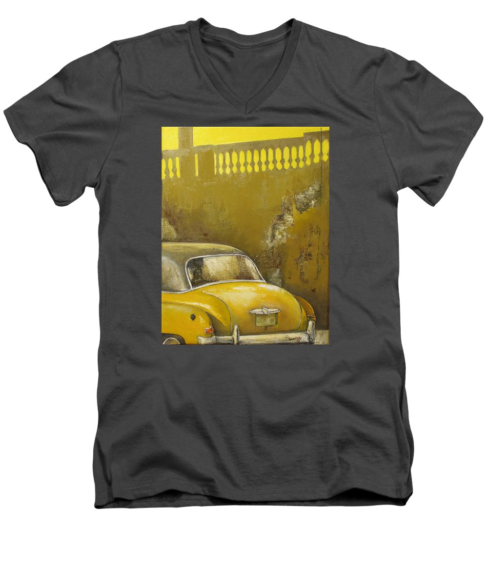 Havana Men's V-Neck T-Shirt featuring the painting Buscando La Sombra by Tomas Castano