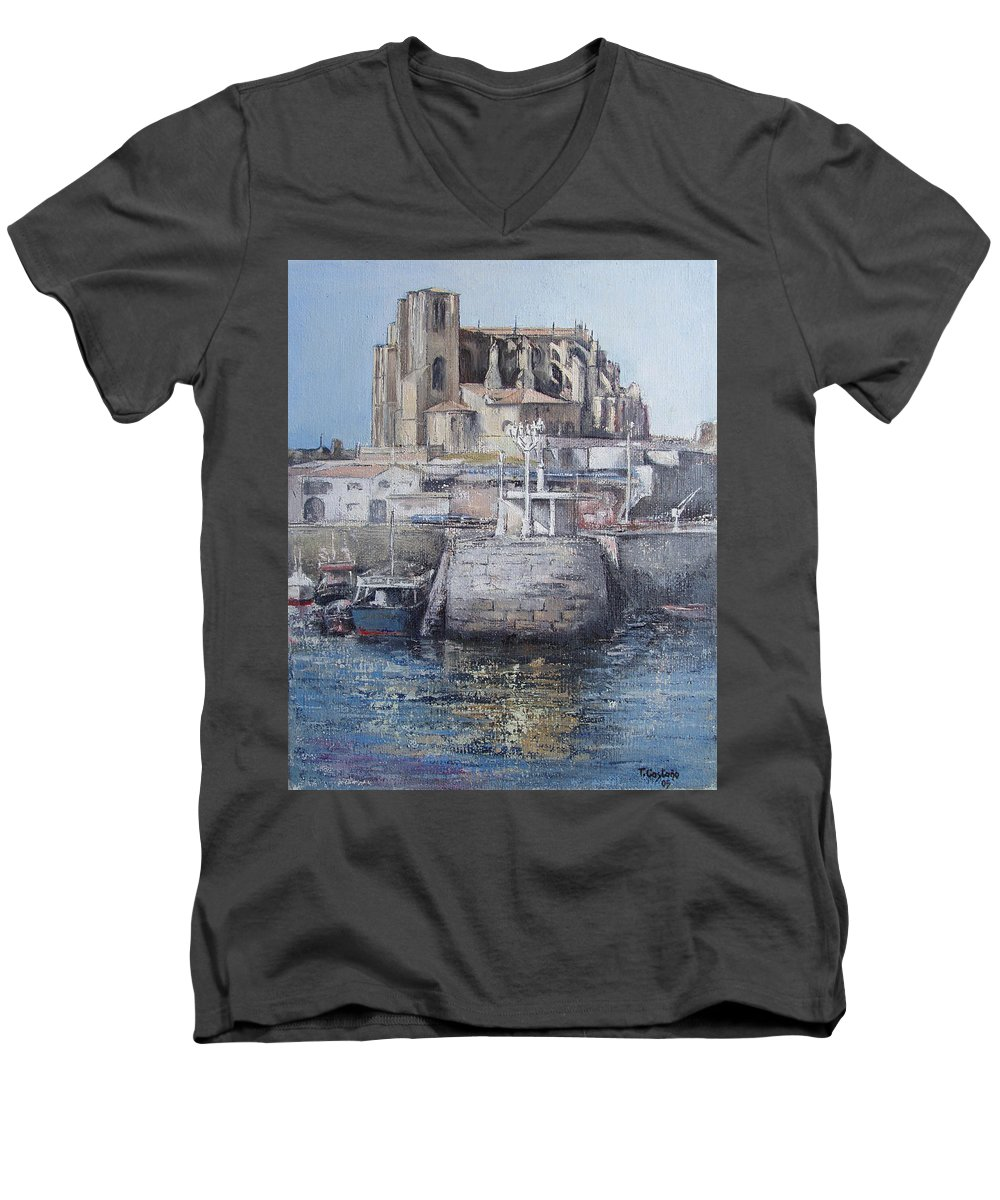 Castro Men's V-Neck T-Shirt featuring the painting Castro Urdiales by Tomas Castano