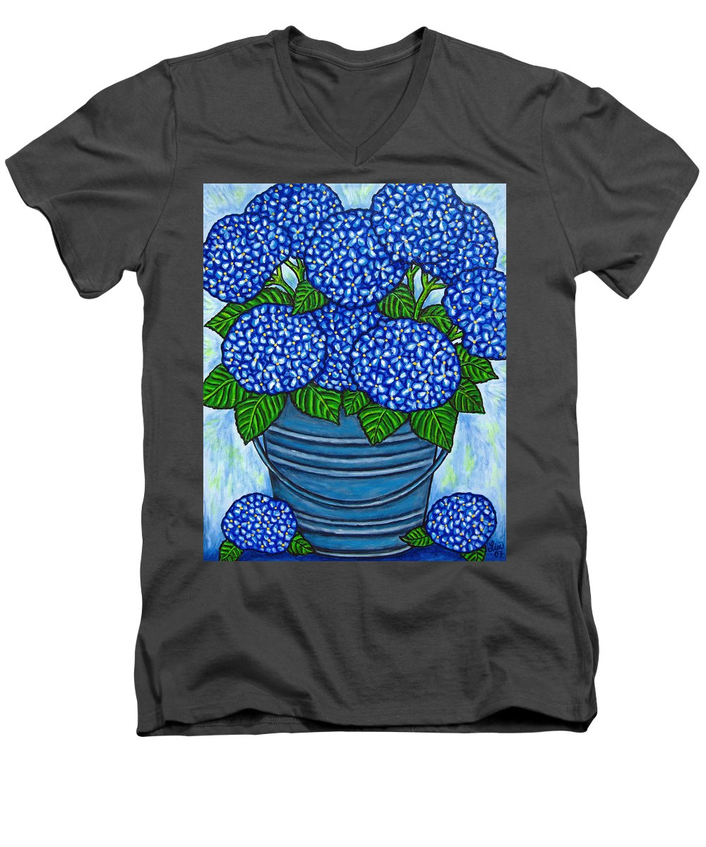 Blue Men's V-Neck T-Shirt featuring the painting Country Blues by Lisa Lorenz