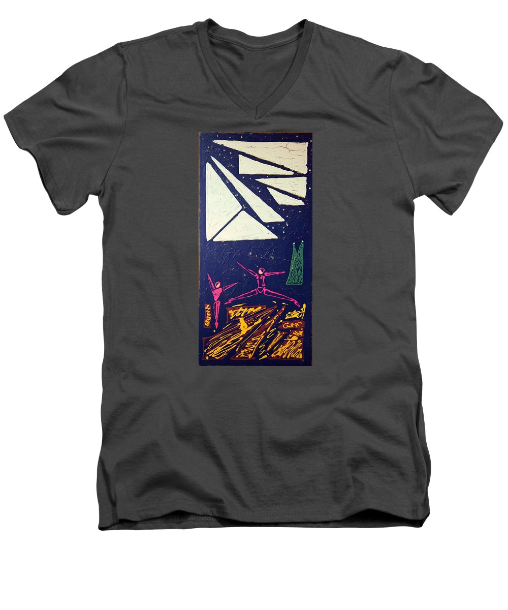 Dancers Men's V-Neck T-Shirt featuring the mixed media Dancing Under The Starry Skies by J R Seymour