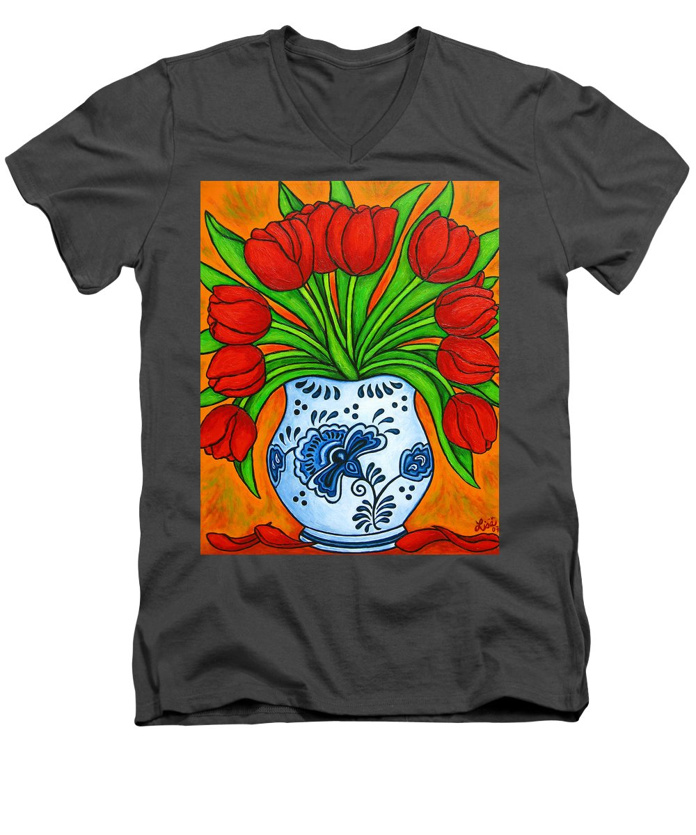 White Men's V-Neck T-Shirt featuring the painting Dutch Delight by Lisa Lorenz