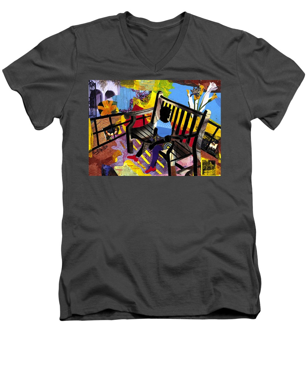 Everett Spruill Men's V-Neck T-Shirt featuring the painting Girl In Red Shoes by Everett Spruill
