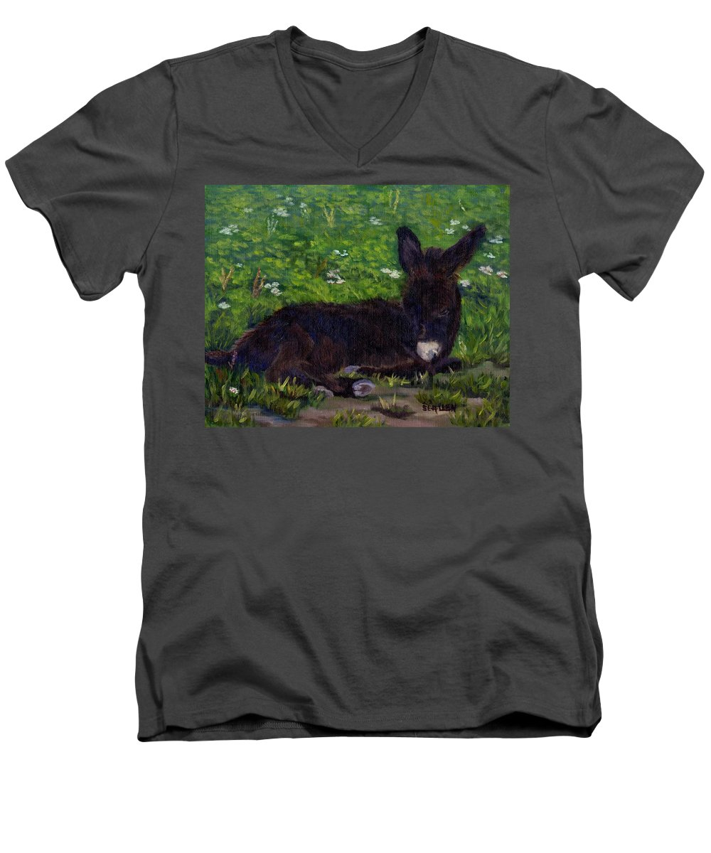 Donkey Men's V-Neck T-Shirt featuring the painting Hercules by Sharon E Allen