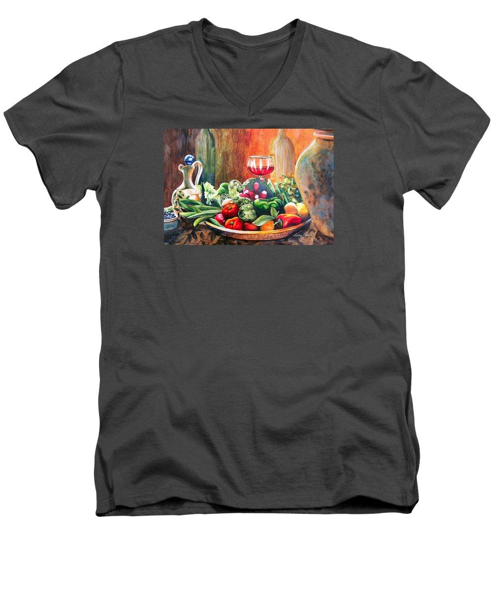 Still Life Men's V-Neck T-Shirt featuring the painting Mediterranean Table by Karen Stark