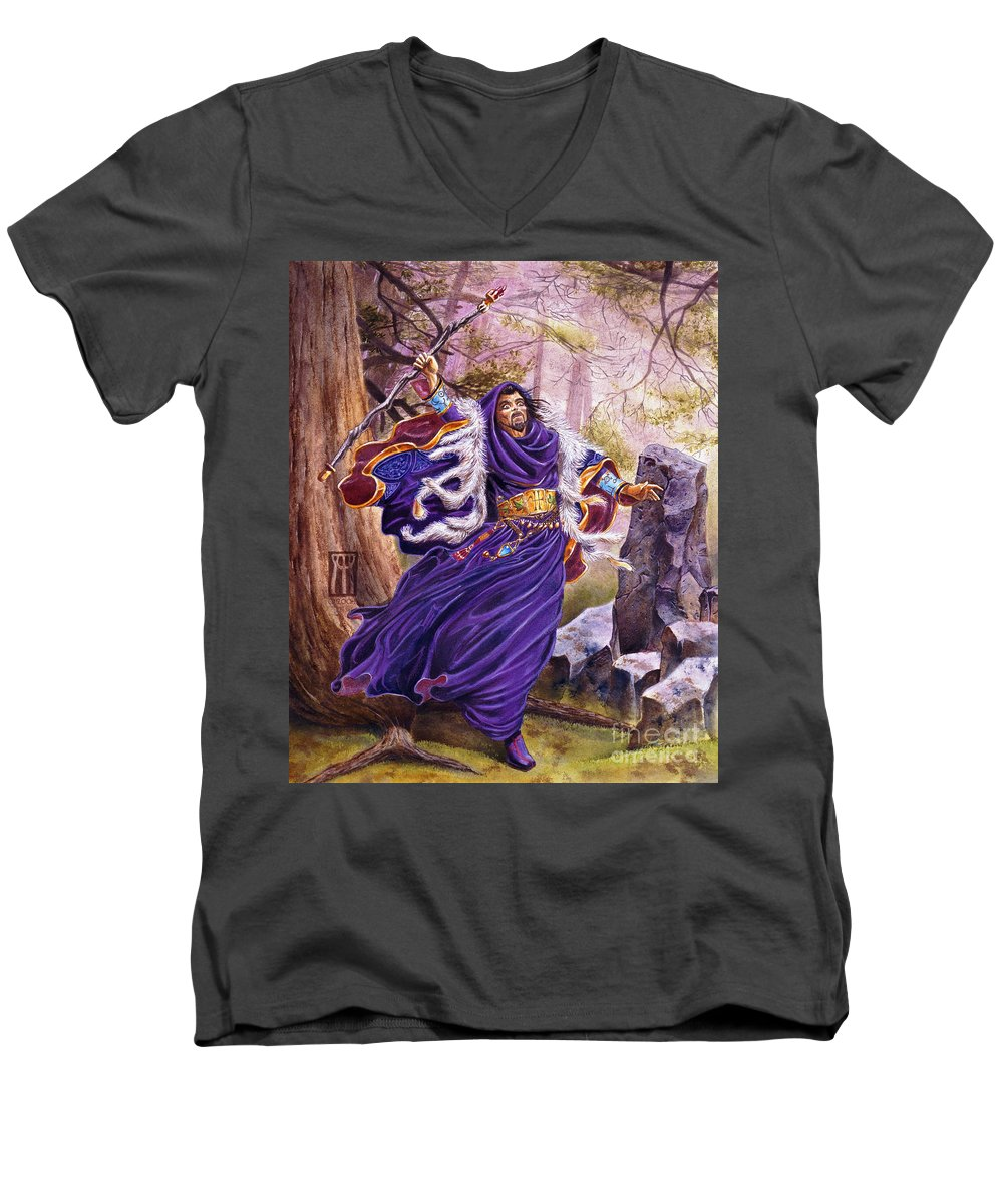 Artwork Men's V-Neck T-Shirt featuring the painting Merlin by Melissa A Benson