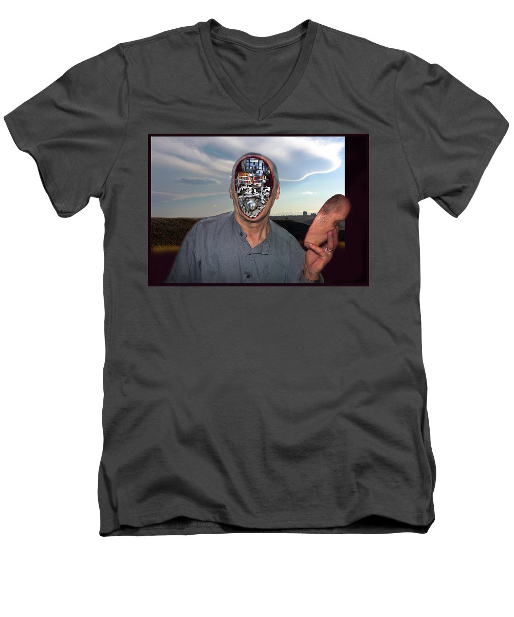 Surrealism Men's V-Neck T-Shirt featuring the digital art Mr. Robot-otto by Otto Rapp