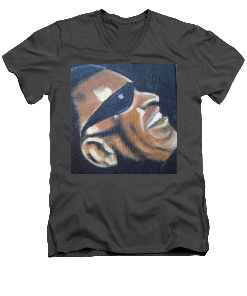 Ray Charles Men's V-Neck T-Shirt featuring the painting Ray Charles by Toni Berry