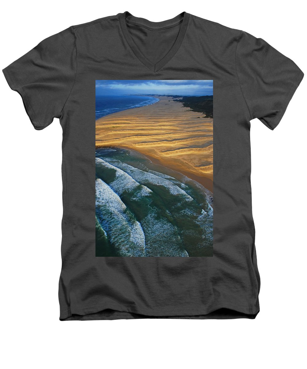 Coast Men's V-Neck T-Shirt featuring the photograph Sun Rise Coast by Skip Hunt