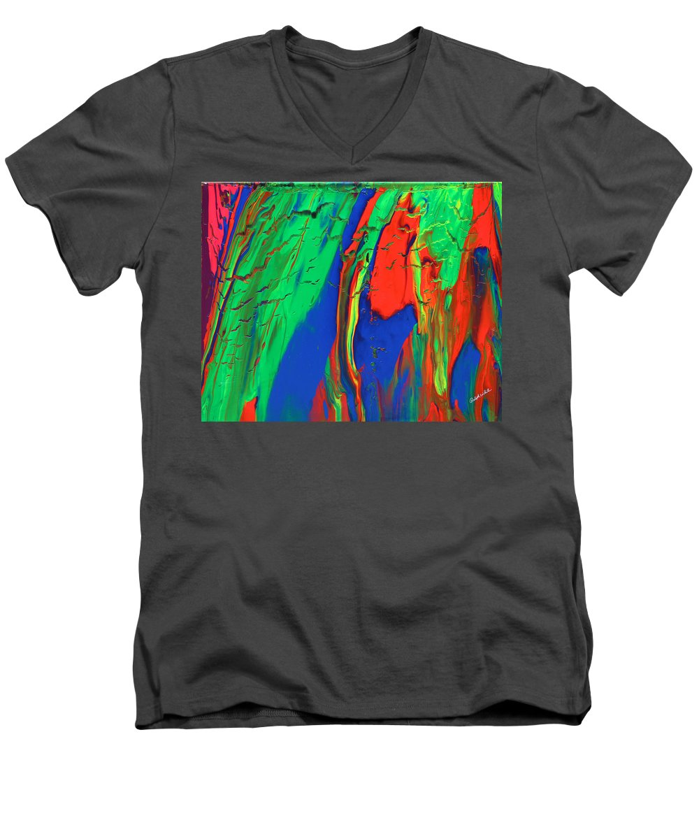 Fusionart Men's V-Neck T-Shirt featuring the painting The Escape by Ralph White