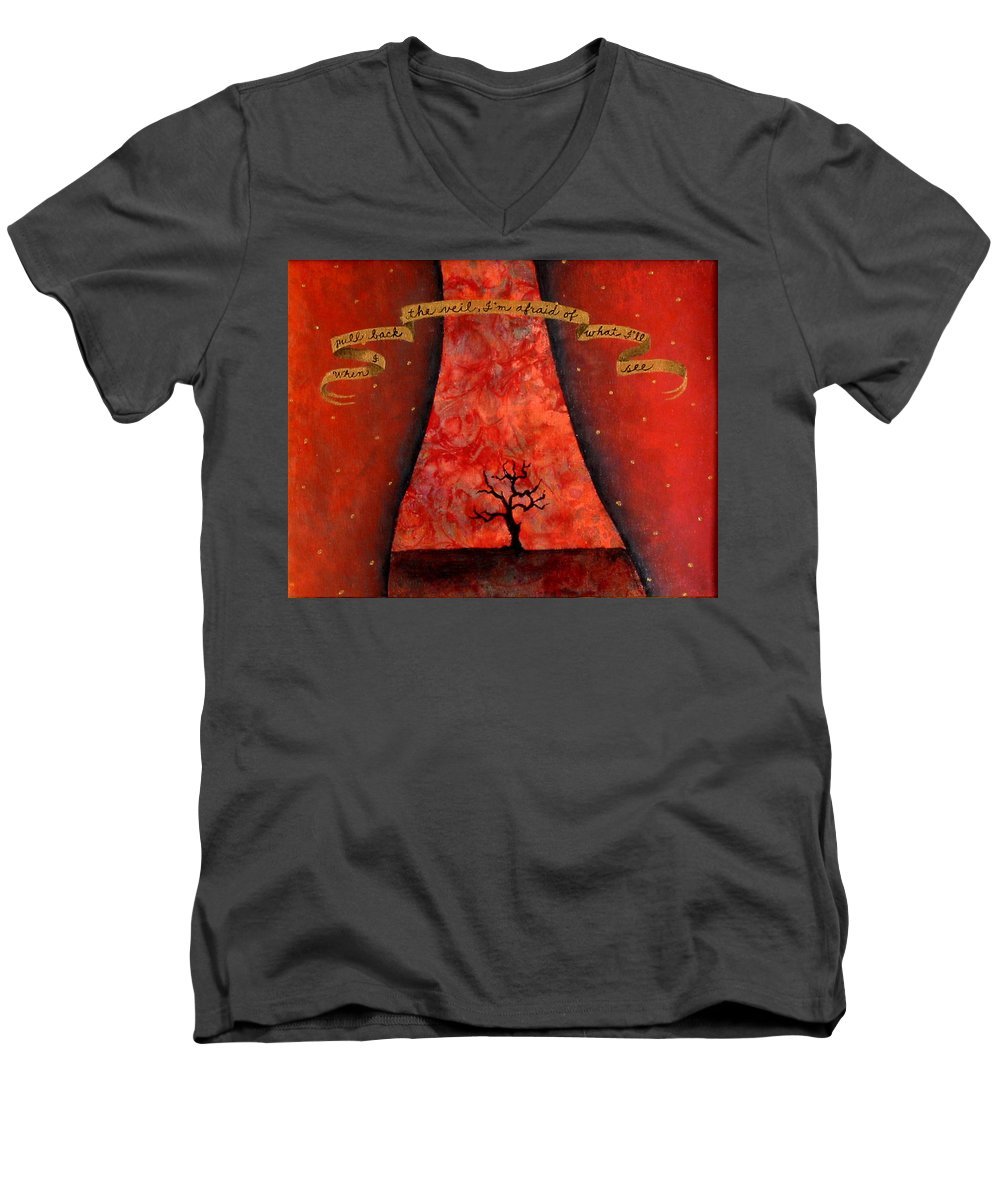 Landscape Men's V-Neck T-Shirt featuring the painting When I Pull Back The Veil by Pauline Lim