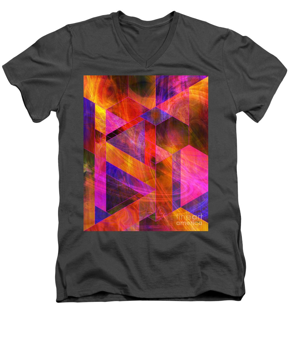 Wild Fire Men's V-Neck T-Shirt featuring the digital art Wild Fire by John Robert Beck