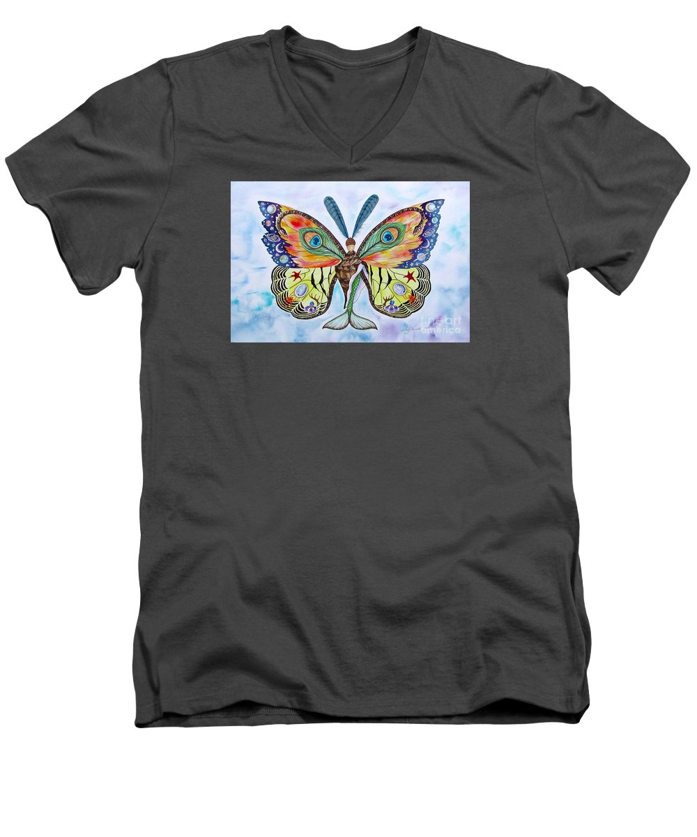 Butterfly Men's V-Neck T-Shirt featuring the painting Winged Metamorphosis by Lucy Arnold