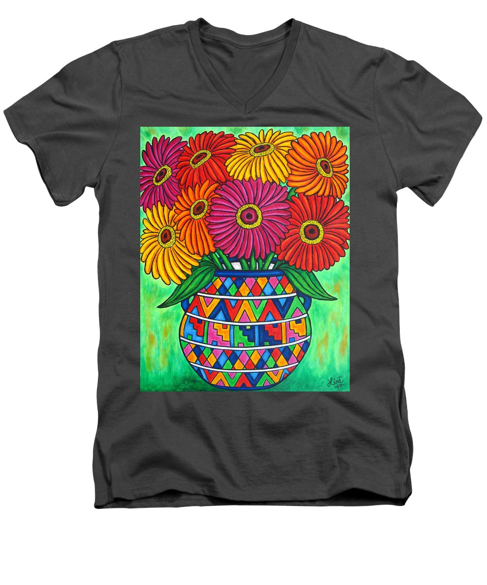 Zinnia Men's V-Neck T-Shirt featuring the painting Zinnia Fiesta by Lisa Lorenz