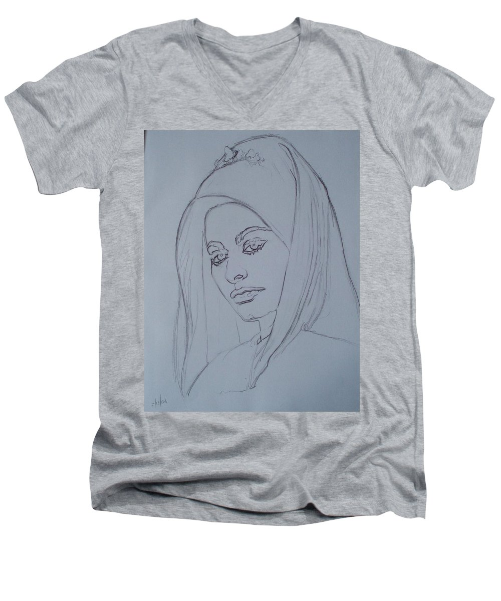 Woman Men's V-Neck T-Shirt featuring the drawing Sophia Loren In Headdress by Sean Connolly