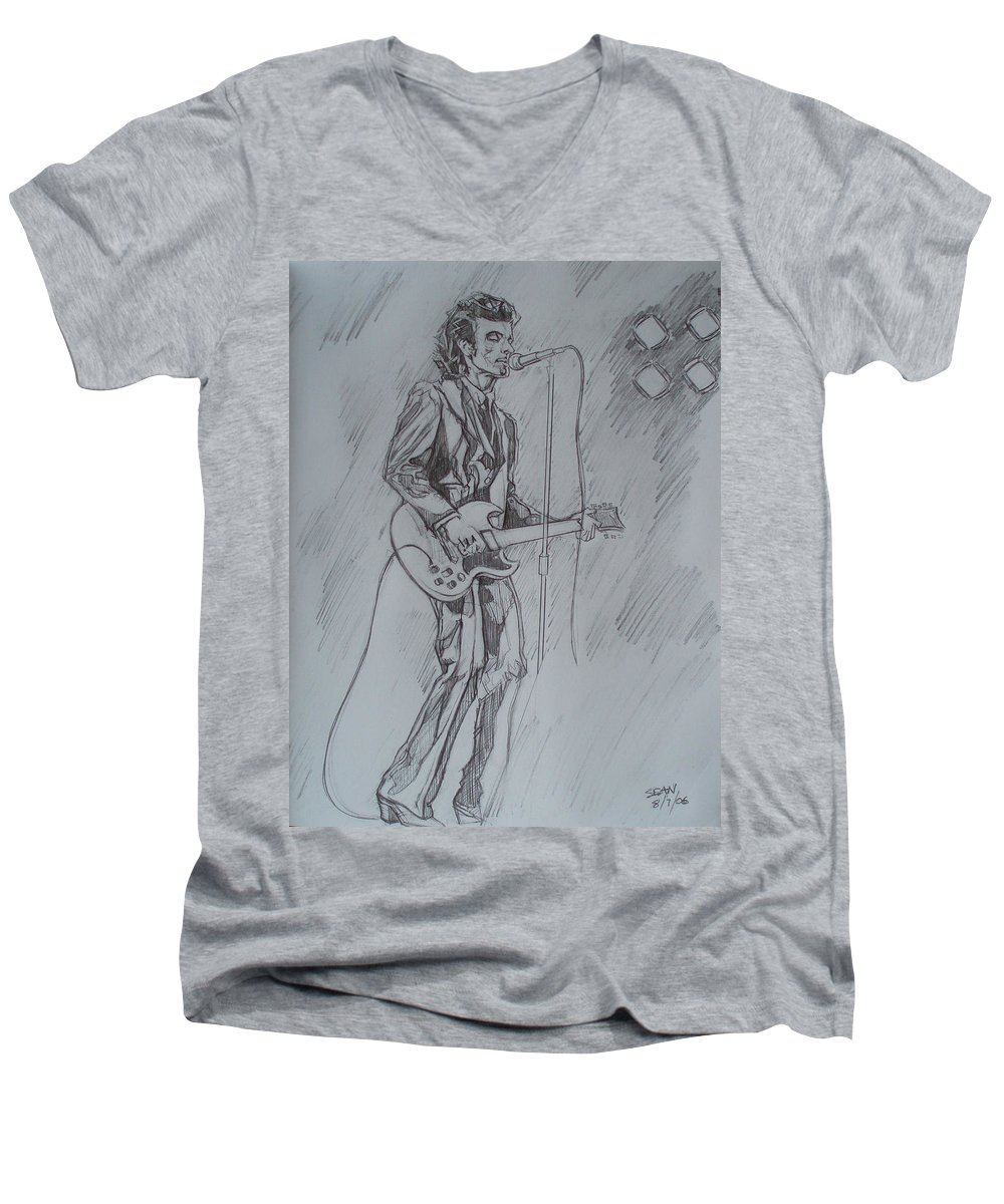 Pencil Men's V-Neck T-Shirt featuring the drawing Mink Deville - Steady Drivin' Man by Sean Connolly