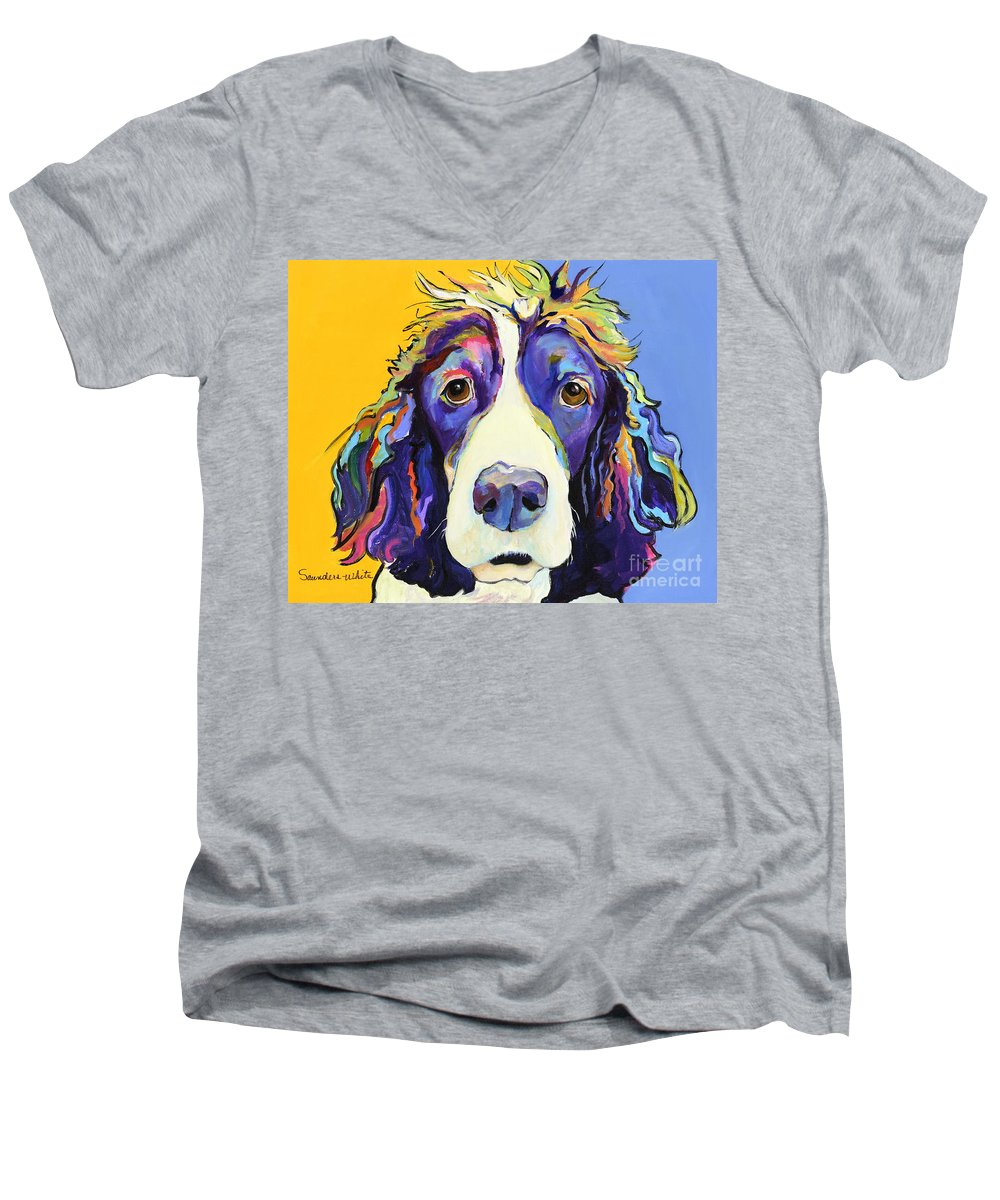 Blue Men's V-Neck T-Shirt featuring the painting Sadie by Pat Saunders-White
