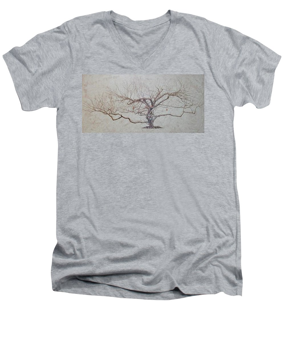 Apple Tree Men's V-Neck T-Shirt featuring the painting Apple Tree In Winter by Leah Tomaino