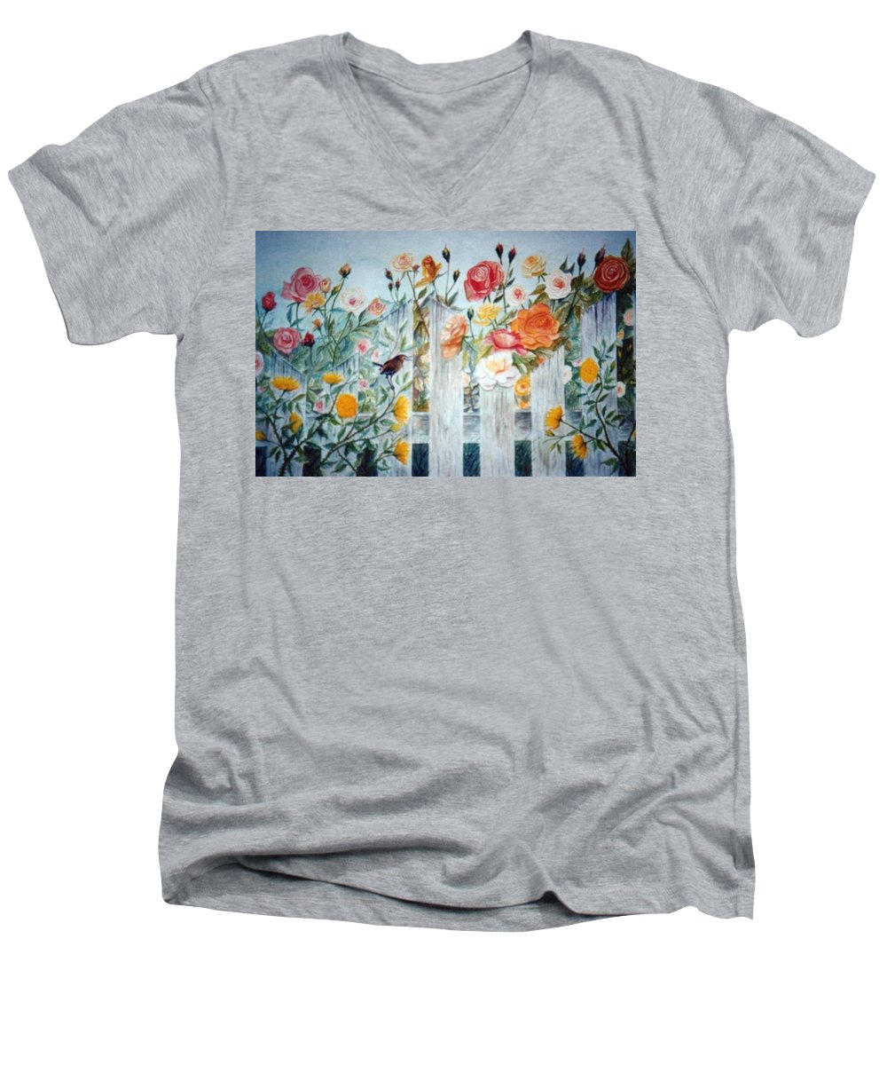 Roses; Flowers; Sc Wren Men's V-Neck T-Shirt featuring the painting Carolina Wren And Roses by Ben Kiger