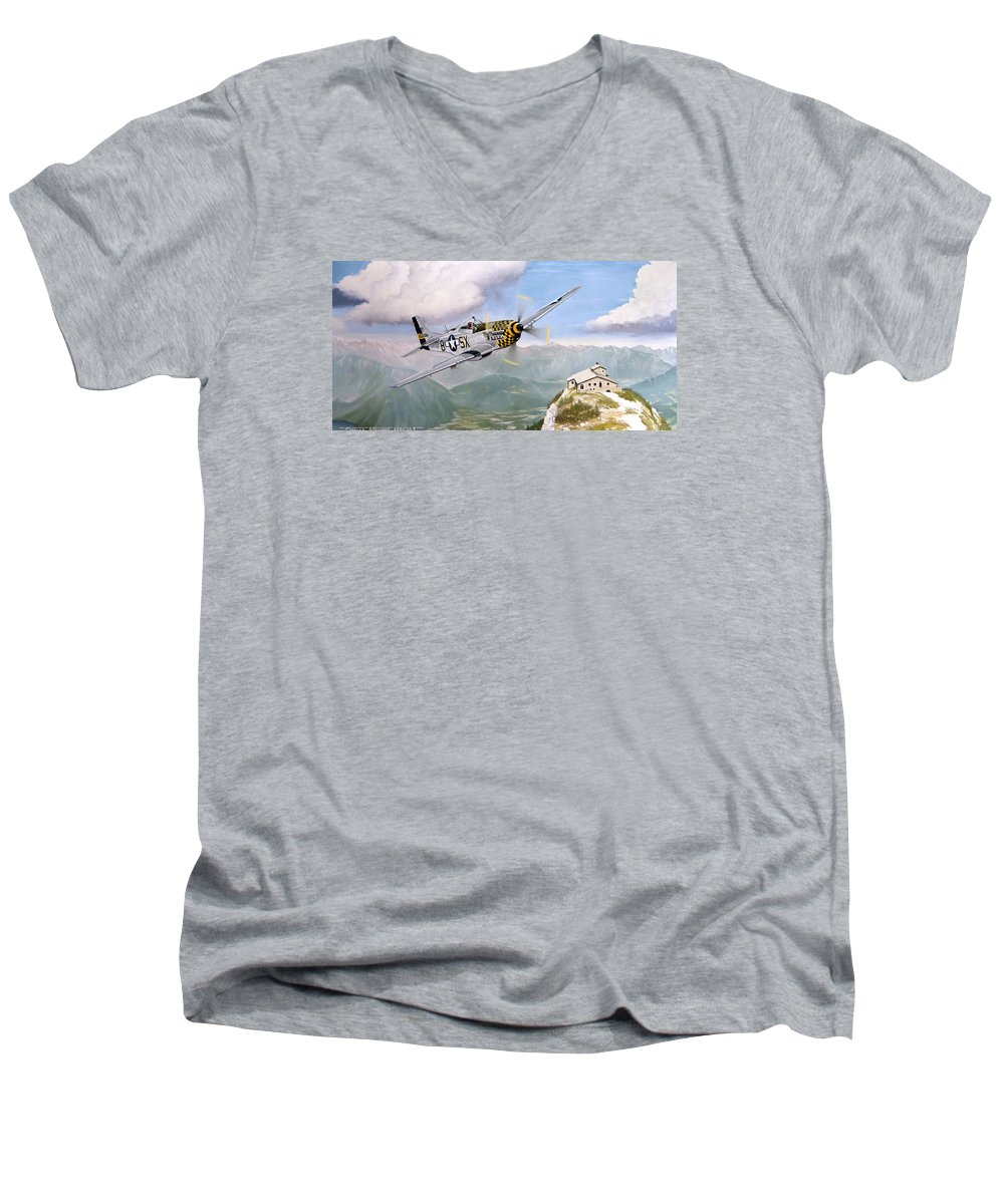 Military Men's V-Neck T-Shirt featuring the painting Double Trouble Over The Eagle by Marc Stewart