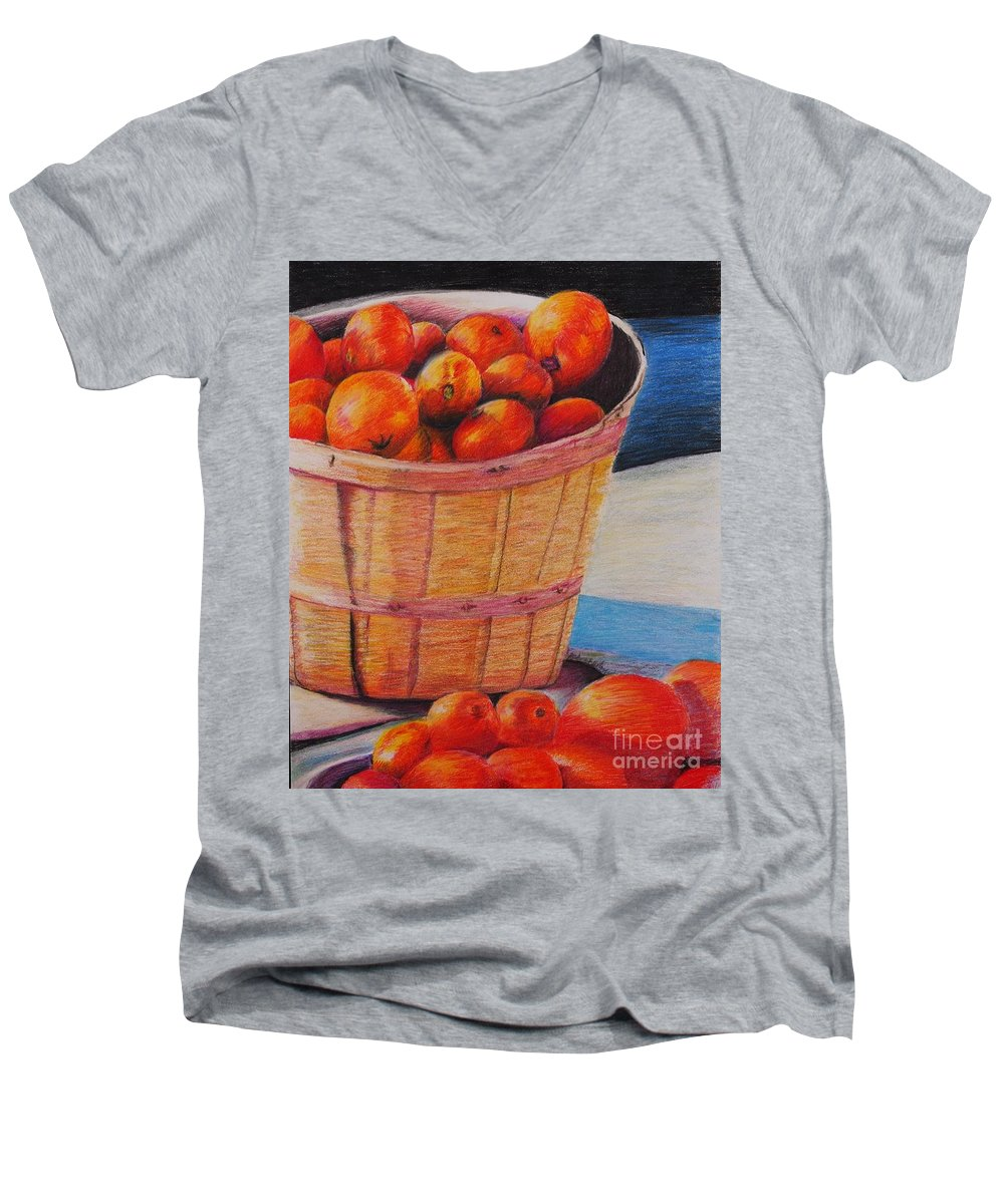 Produce In A Basket Men's V-Neck T-Shirt featuring the drawing Farmers Market Produce by Nadine Rippelmeyer