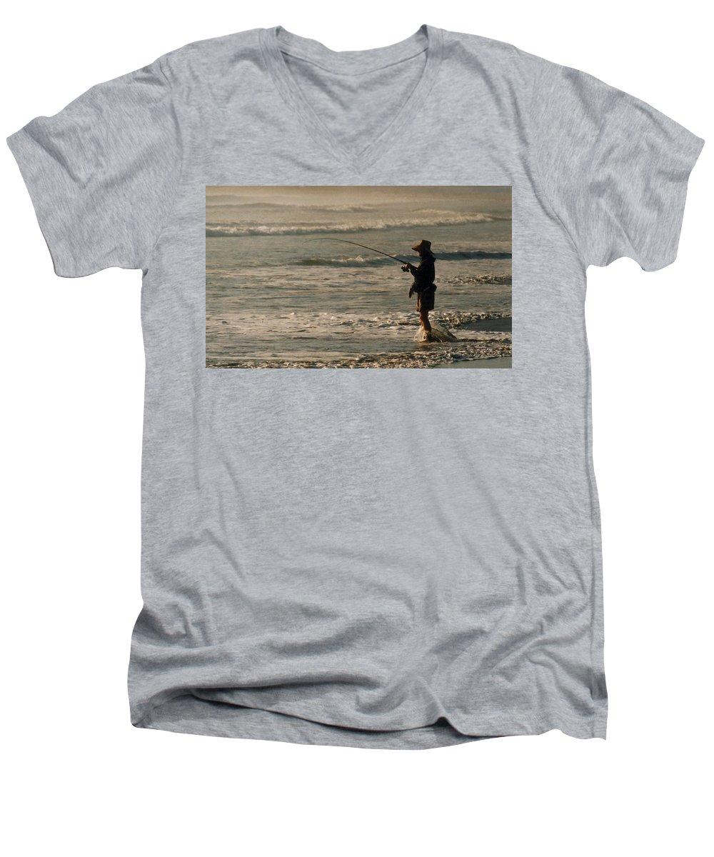 Fisherman Men's V-Neck T-Shirt featuring the photograph Fisherman by Steve Karol