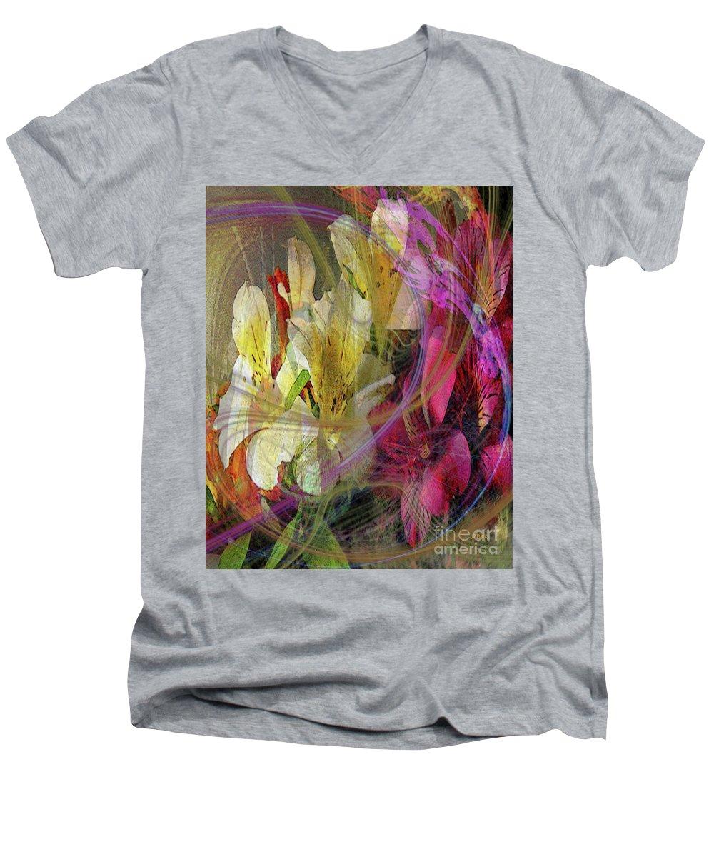 Floral Inspiration Men's V-Neck T-Shirt featuring the digital art Floral Inspiration by John Robert Beck