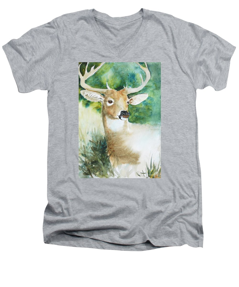 Deer Men's V-Neck T-Shirt featuring the painting Forest Spirit by Christie Michelsen