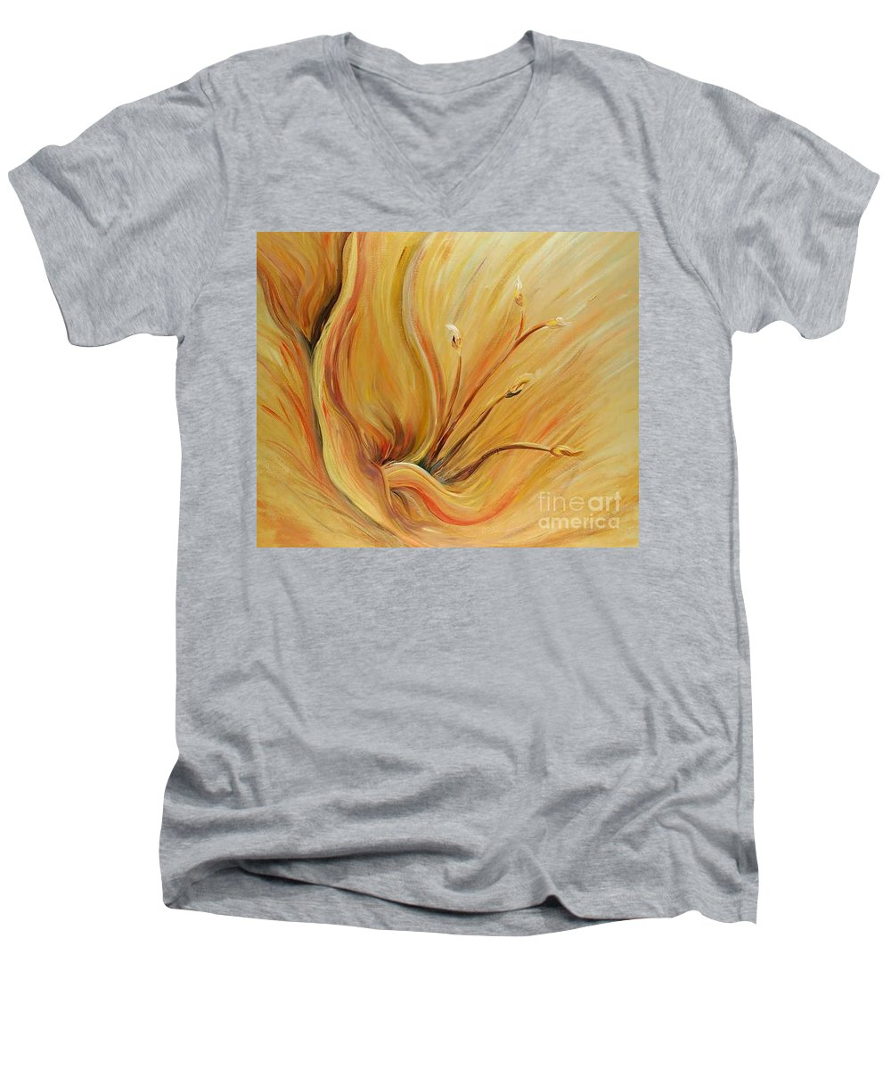 Gold Men's V-Neck T-Shirt featuring the painting Golden Glow by Nadine Rippelmeyer