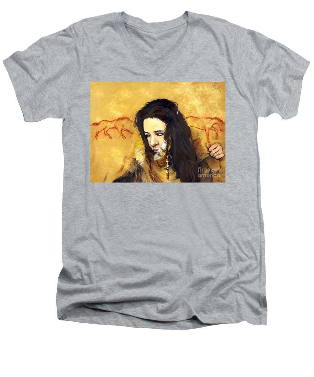 Southwest Art Men's V-Neck T-Shirt featuring the painting Journey by J W Baker